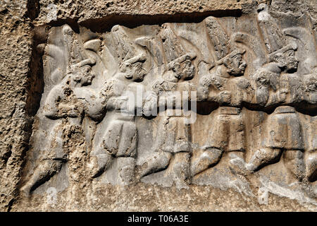 Close up of the sculpture of the twelve gods of the underworld from the 13th century BC Hittite religious rock carvings of Yazılıkaya Hittite rock san - Stock Photo