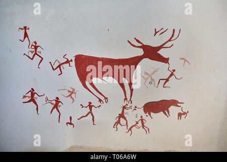 Recontructed fresco of an original found at Catalhoyuk. The men are hunting a deer and pulling on its tounge to disable it. The hunters are believed b - Stock Photo