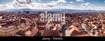 Sibiu, Romania - March 09, 2019. Aerial view from Saint Mary Lutheran Cathedral in Sibiu city, Romania - Stock Photo