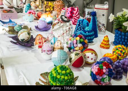 Malaga, Spain - May 18, 2018. Handicraft store with Spanish souvenir in Malaga city, Spain. - Stock Photo
