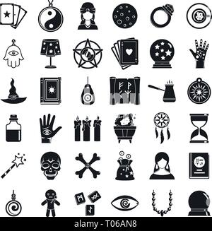 Fortune teller icons set. Simple set of fortune teller vector icons for web design on white background - Stock Photo