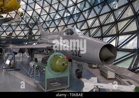 Yugoslavian Air Force Mikoyan-Gurevich MiG-21F-L12/F13 at a display in Serbian Aeronautical museum in Belgrade - Stock Photo