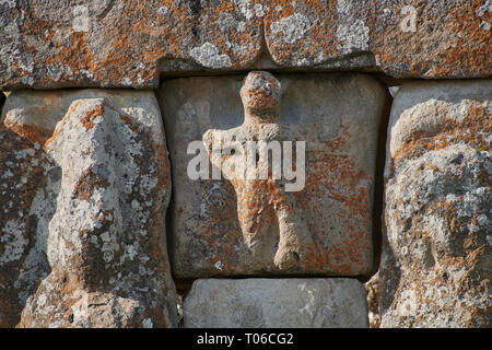 Close up of Hittite relief scultures of Hittite godsEflatun Pınar ( Eflatunpınar) Ancient Hittite relief sculpture monument and sacred pool.  Between  - Stock Photo
