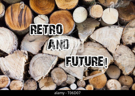 Conceptual hand writing showing Retro And Future. Concept meaning optimistic version of future featuring flying cars robots Wooden background vintage  - Stock Photo