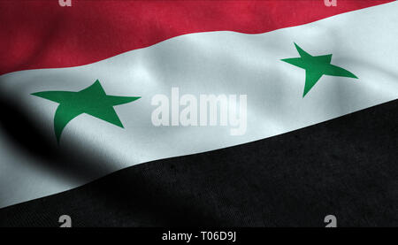 Syria Waving Flag in 3D - Stock Photo