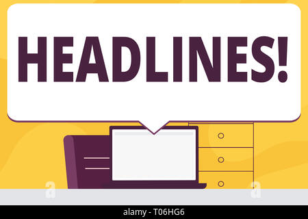 Word writing text Headlines. Business photo showcasing Heading at the top of an article in newspaper Blank Huge Speech Bubble Pointing to White Laptop - Stock Photo