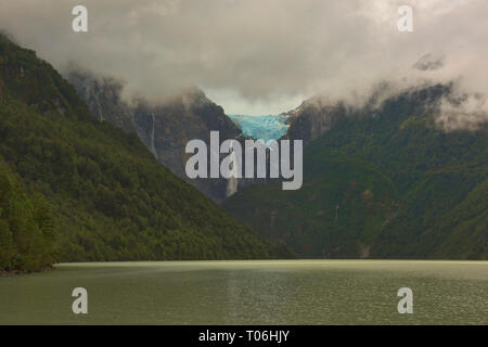 Ventisquero Colgante hanging glacier above Laguna Tempanos in Queulat National Park, Patagonia, Aysen, Chile - Stock Photo