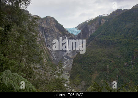 Ventisquero Colgante hanging glacier in Queulat National Park, Patagonia, Aysen, Chile - Stock Photo