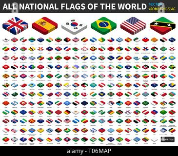 All national flags of the world . isometric top design . Vector - Stock Photo