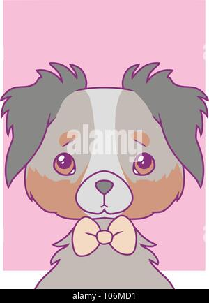 Cute cartoon style vector art print motive with pastel colored Australian Shepherd dog with bowtie - Stock Photo