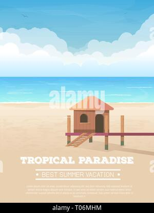 Tropical beach vacation banner - Stock Photo