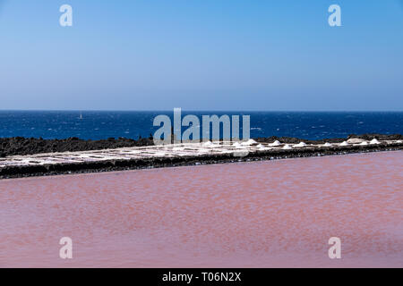 Colors during the salination evaporation process in the salt fields of Fuencaliente, La Palma Island, Canary Islands, Spain - Stock Photo