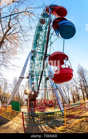 Ferris wheel. Big observation wheel in the autumn park in Samara, Russia - Stock Photo