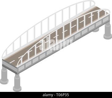 Road bridge icon, isometric style - Stock Photo