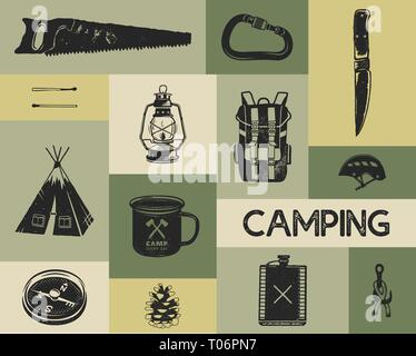 Camping icons set in silhouette retro style. Monochrome travel symbols, hiking shapes with tent, saw, compass etc. Stock vector elements collection - Stock Photo