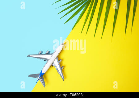 Model plane airplane or plane and tropical green palm leaves on yellow and blue background. - Stock Photo
