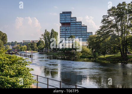 Nordic Haven apartment house over Brda River in Bydgoszcz city, Poland - Stock Photo