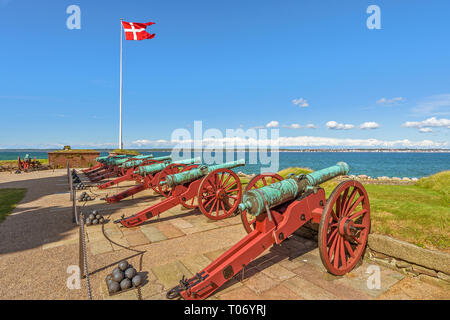 Old cannons in Kronborg Castle. Helsingor. Denmark. This castle is known as Elsinore in William Shakespeare's play Hamlet - Stock Photo