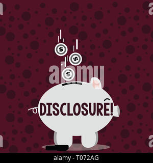 Writing note showing Disclosure. Business concept for The action of making New or Secret Confidential information known Piggy Bank Sideview and Dollar - Stock Photo