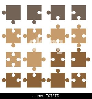 Jigsaw pieces puzzle icon. Vector illustration, flat design. - Stock Photo