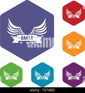Eagle wing icons vector hexahedron - Stock Photo