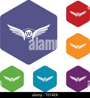 Animal wing icons vector hexahedron - Stock Photo