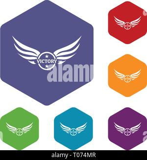 Win wing icons vector hexahedron - Stock Photo