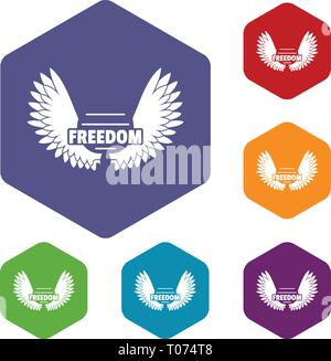 Angel wing icons vector hexahedron - Stock Photo