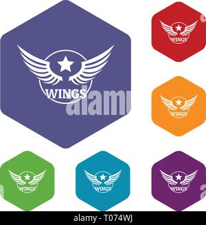 Wing icons vector hexahedron - Stock Photo