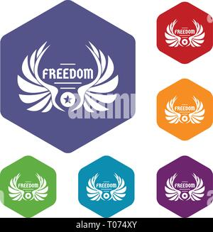 Freedom wing icons vector hexahedron - Stock Photo