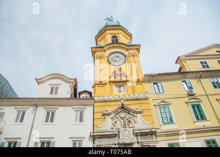 City of Rijeka, clock tower view in Croatia - Stock Photo