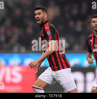 Milan, Italy. 17th Mar, 2019. AC Milan's Mateo Musacchio celebrates his goal during a Serie A soccer match between AC Milan and Inter Milan in Milan, Italy, March 17, 2019. Credit: Alberto Lingria/Xinhua/Alamy Live News - Stock Photo
