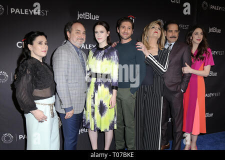 Los Angeles, CA, USA. 15th Mar, 2019. LOS ANGELES - MAR 15: Alex Borstein, Kevin Pollak, Rachel Brosnahan, Michael Zegen, Caroline Aaron, Tony Shalhoub, Marin Hinkle at the PaleyFest - ''The Marvelous Mrs. Maisel'' at the Dolby Theater on March 15, 2019 in Los Angeles, CA Credit: Kay Blake/ZUMA Wire/Alamy Live News - Stock Photo