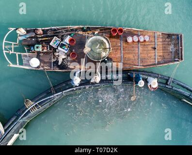 (190318) -- BEIJING, March 18, 2019 (Xinhua) -- Fishermen catch fish at a mariculture zone in the sea area of Nanji island in Wenzhou, east China's Zhejiang Province, Aug. 18, 2018. China's food and beverage (F&B) industry posted a record high of 4.27 trillion yuan (636 billion U.S. dollars) in revenue in 2018, the China Cuisine Association said Sunday.     The F&B industry revenue accounted for 11.2 percent of the total volume of retail sales last year, up 0.4 percentage points from 2017, said Jiang Junxian, president of the association.     The F&B industry also contributed 20.9 percent to c - Stock Photo