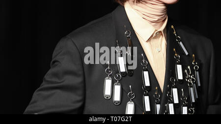Tokyo, Japan. 18th Mar, 2019. A model presents a creation of Japanese brand DRESSEDUNDRESSED during Amazon Fashion Week Tokyo, in Tokyo, Japan, March 18, 2019. Credit: Du Xiaoyi/Xinhua/Alamy Live News - Stock Photo