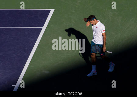 March 17, 2019: Roger Federer (SUI) in action where he was defeated by Dominic Thiem (AUT) 6-3, 3-6, 7-5 in the finals of the BNP Paribas Open at the Indian Wells Tennis Garden in Indian Wells, California. ©Mal Taam/TennisClix/CSM - Stock Photo