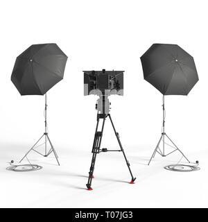 Photo studio equipment isolated 3d rendering illustration - Stock Photo