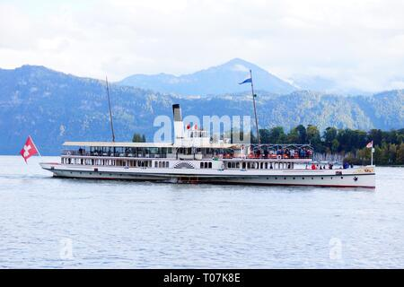 Steam ferry Lake Lucerne Switzerland - Stock Photo