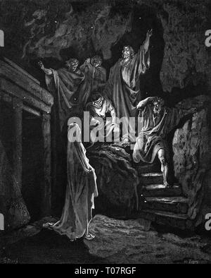 religion, Christianity, Jesus Christ, scenes of his life, raising of Lazarus, wood engraving by Gustav Dore (1832 - 1883), Tours, 1866, Artist's Copyright has not to be cleared - Stock Photo