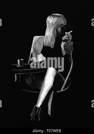 Handmade drawing of adult woman waiting and drinking and smoking on black. Not real person - Stock Photo