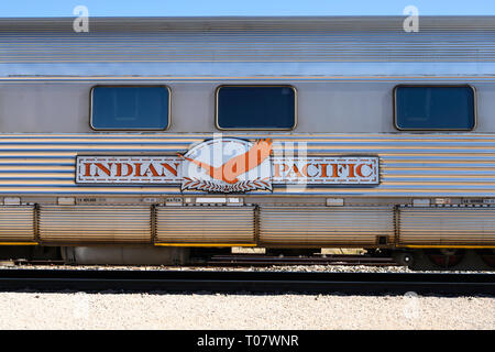 Detail of a coach of the Indian Pacific train service between Perth and Sydney, Australia, operated by Great Southern Rail. - Stock Photo