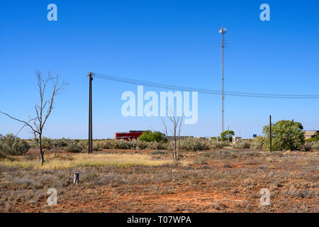 Airfield mast at the remote locality of Rawlinna, in the Nullarbor plain in Western Austrailia. - Stock Photo