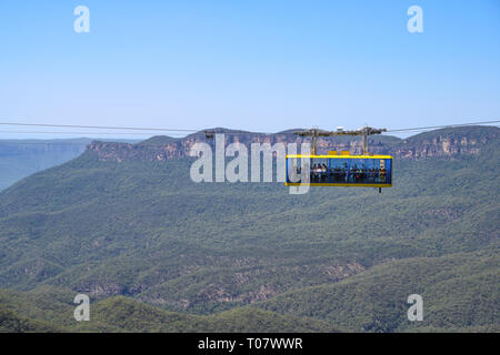 Scenic Skyway cable car at Scenic World tourist attraction, Katoomba, Blue Mountains National Park, New South Wales, Australia. - Stock Photo