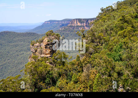 Rock formation seen from a lookout overlooking the Jamison Valley at Katoomba, Blue Mountains National Park, New South Wales, Australia. - Stock Photo