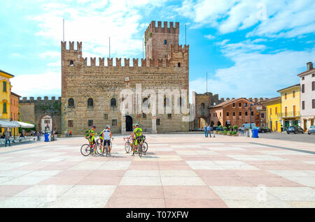 Italy, Marostica, The square where the traditional chess game is played with the Lower Castle in the background