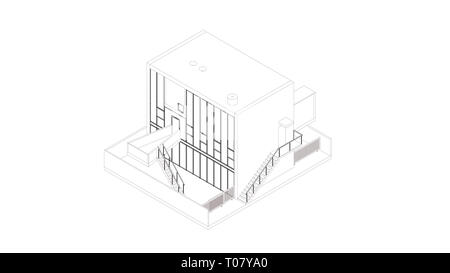 Abstract wireframe perspective of 3D building. Rendering of a modern house by Kazuyo Sejima in Chiba, Japan. - Stock Photo