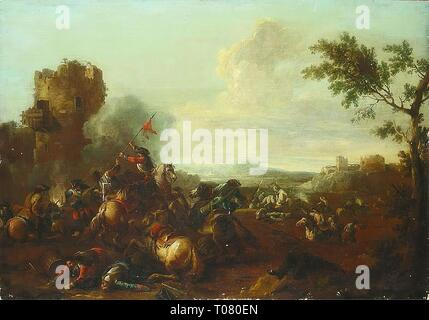 'Cavalry Skirmish'. France, 17th century. Dimensions: 95x134,5 cm. Museum: State Hermitage, St. Petersburg. Author: Courtois, Jacques (called Bourguignon). 1621. - Stock Photo