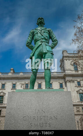 Statue, Jan Christian Smuts, Parliament Square, London, England, Grossbritannien - Stock Photo