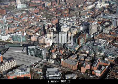 aerial view of Leeds city centre, West Yorkshire, UK - Stock Photo