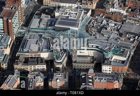 aerial view of Trinity Leeds shopping centre, Leeds, West Yorkshire, UK - Stock Photo